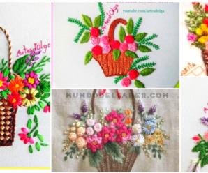 😍🌺🎀Aprende hacer lindos bordados de canastas florales 😍🌺🎀 tutorial paso a paso