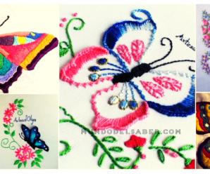 😍🌺🎀Aprende hacer lindos bordados de mariposas😍🌺🎀 tutorial paso a paso