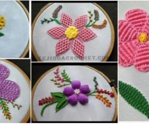 😍🌺🎀Aprende hacer preciosos bordados de flores😍🌺🎀 tutorial paso a paso
