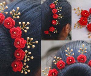 😍🌺🎀Hermosa tiara de rosas con perlas😍🌺🎀 tutorial paso a paso