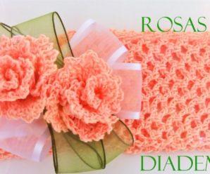 😍🌺🎀Preciosa Diadema de rosas a crochet😍🌺🎀 tutorial paso a paso