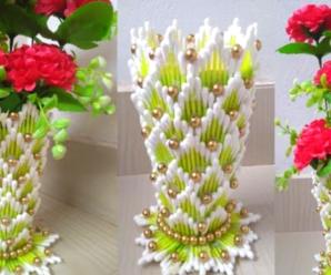😍🌺🎀Aprende hacer este hermoso florero de cartón e hisopos😍🌺🎀 tutorial paso a paso