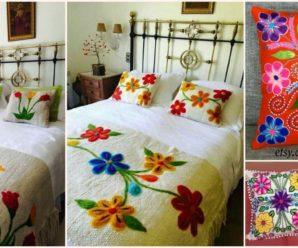 Aprende hacer hermosos bordados de cojines y cubre camas