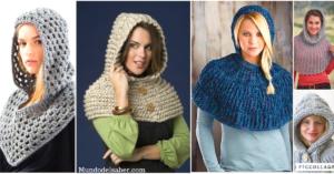 color atractivo gran calidad moda caliente Hermosas capas con capucha tejidas a crochet/Curso tutorial ...