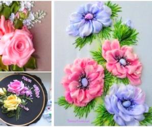 Hermosas rosas bordadas con liston/Curso tutorial paso a paso