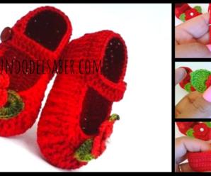 Hermosos zapatitos con flor a crochet/Cuso tutorial paso a paso